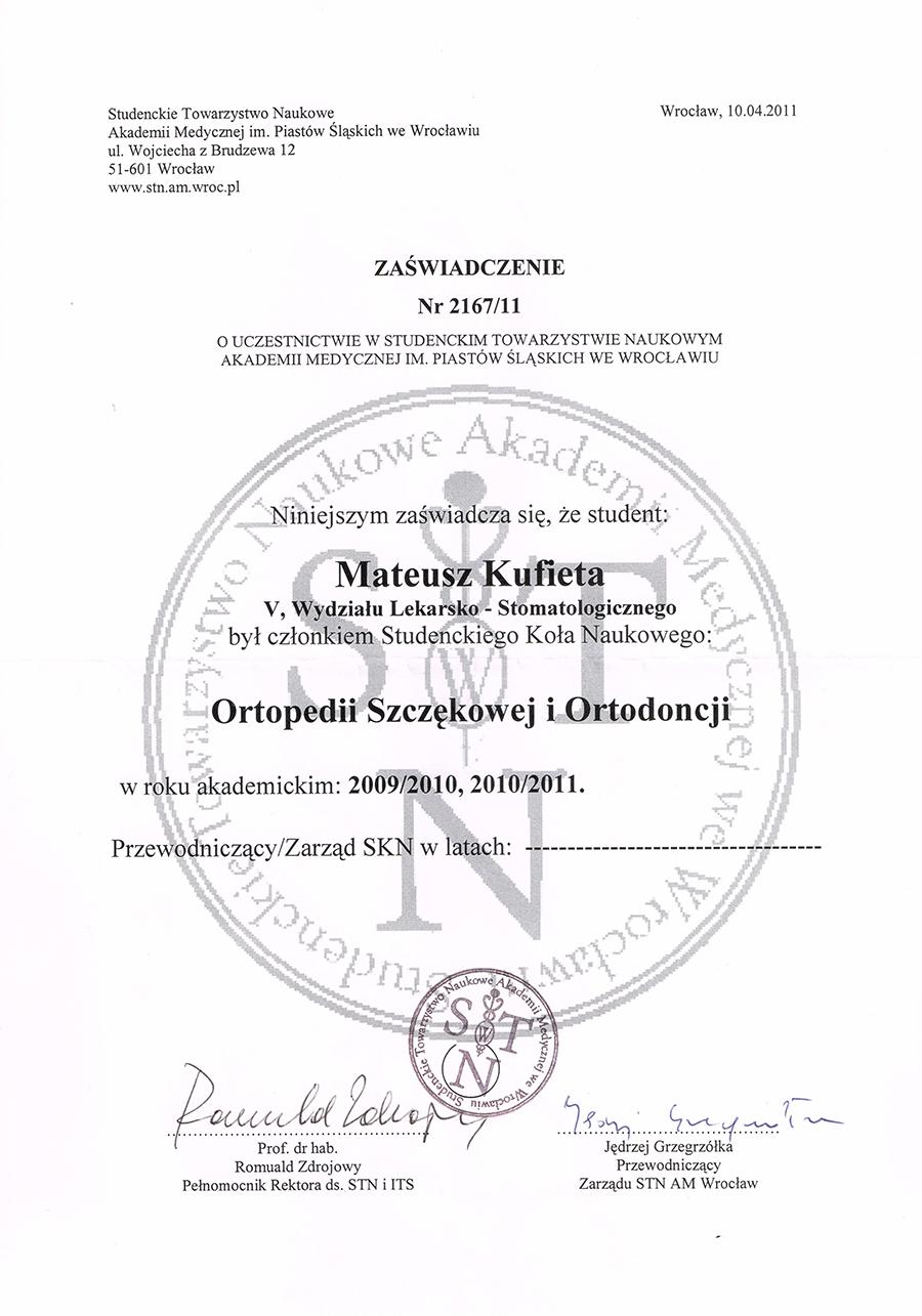 Zaświadczenie o uczestnictwie w Studenckim Towarzystwie Naukowym Akademii Medycznej Im. Piastów Śląskich we Wrocławiu